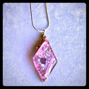 Handmade pink and gold sparkly resin necklace